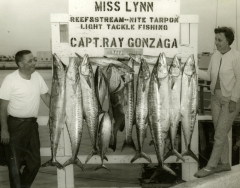 A catch of kingfisn made on the charterboat Miss Lynn captain Ray Gonzaga C 1968. Photo by Wil-Art Studio from the collection of Angie Marine.