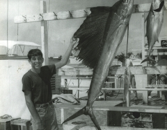 A boy with a sailfish caught on a Key West charterboat C 1968. Photo by Wil-Art Studio from the collection of Angie Marine.