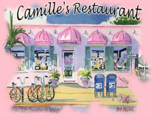 Watercolor of Camille's restaurant from street